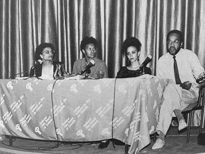 Zainub Verjee with Betty Julian, Coco Fusco and Tony Gittens