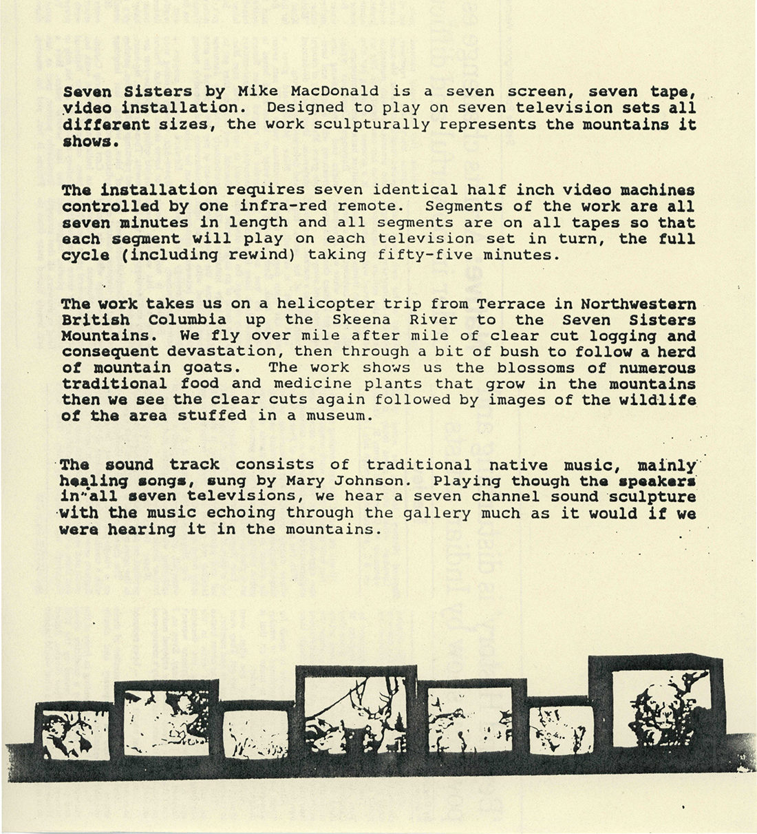 Seven Sisters artist statement by Mike MacDonald, 1989