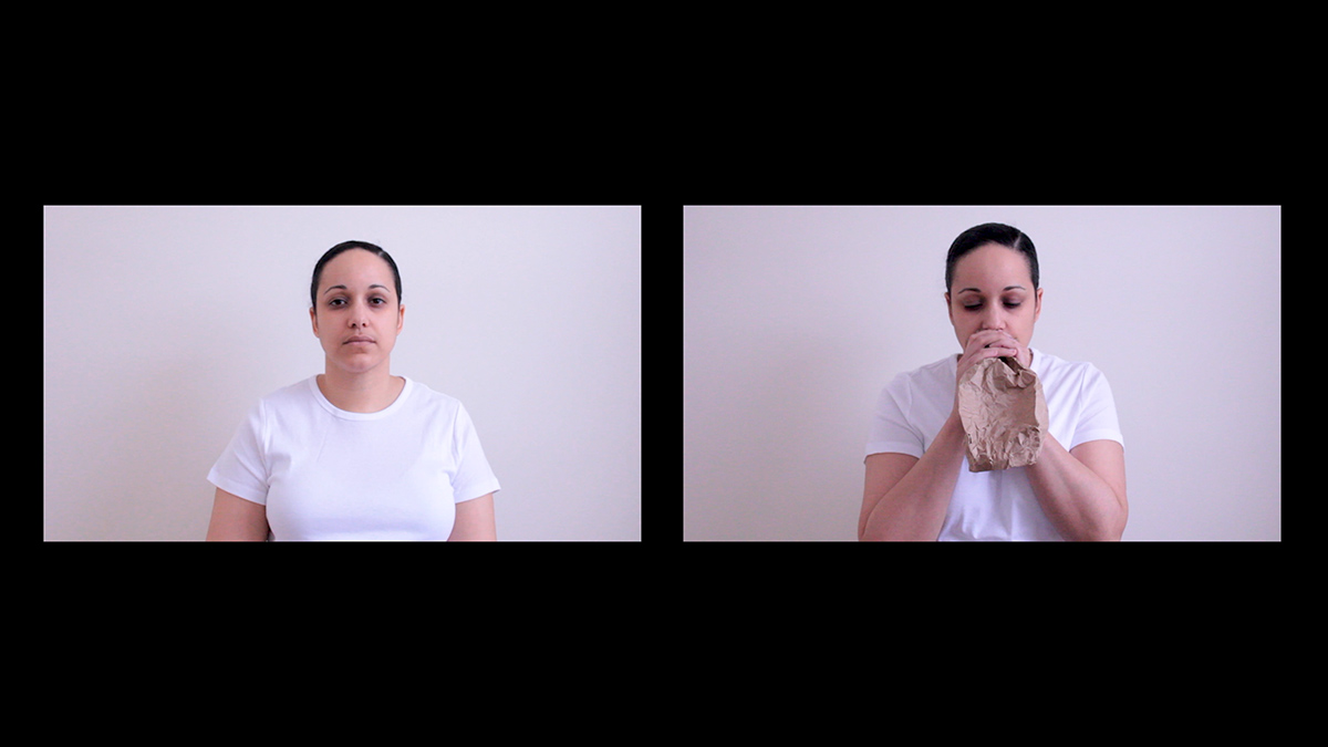 Still from Erika deFreitas, forgive me for speaking in my own tongue / to practice the study of breathing (2016).