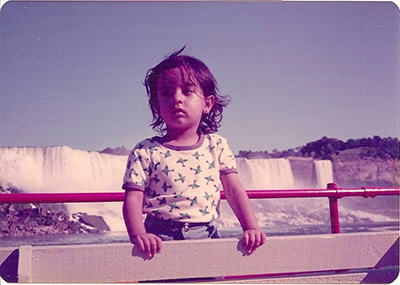 Dipna Horra as a child at Niagara Falls, Canada 1977.