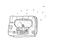 Line drawing of an old radio