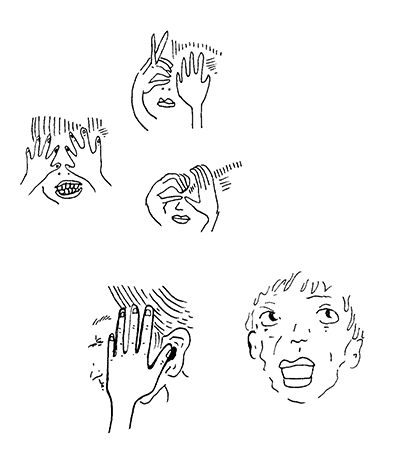 Line drawings of 5 faces