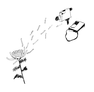 Line drawing of a flower being filmed by an old PortaPak video camera