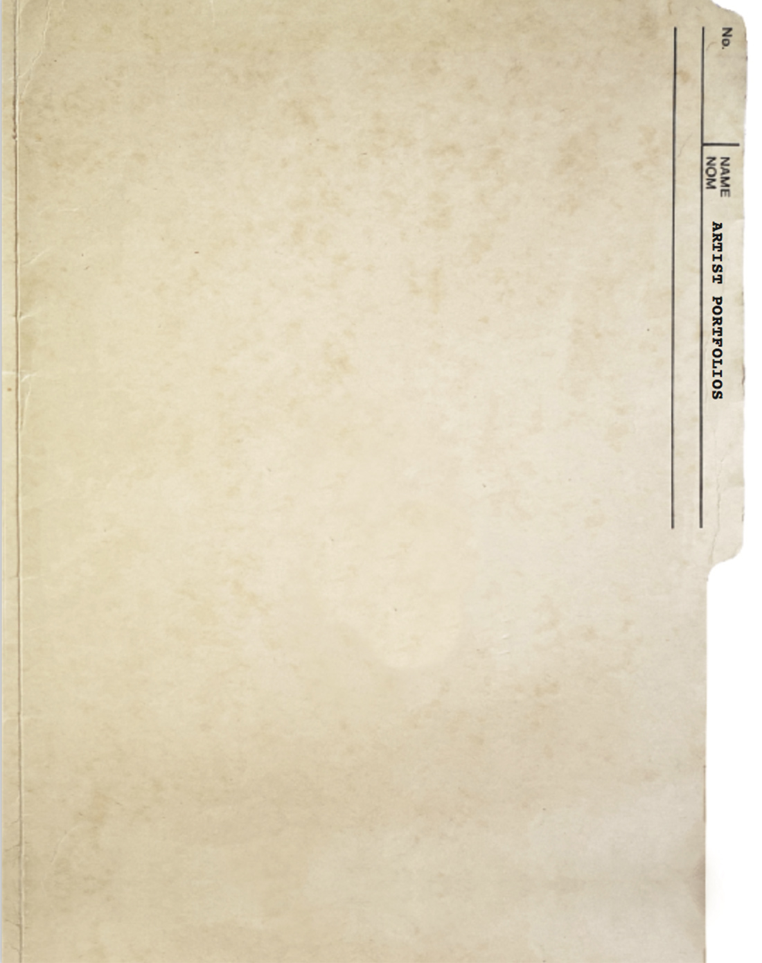 Manila folder marked Artist Portfolios