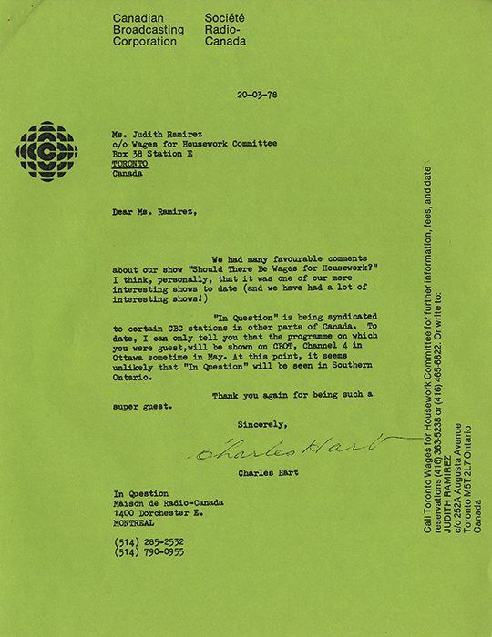 Wages for Housework Committee letter from the CBC.