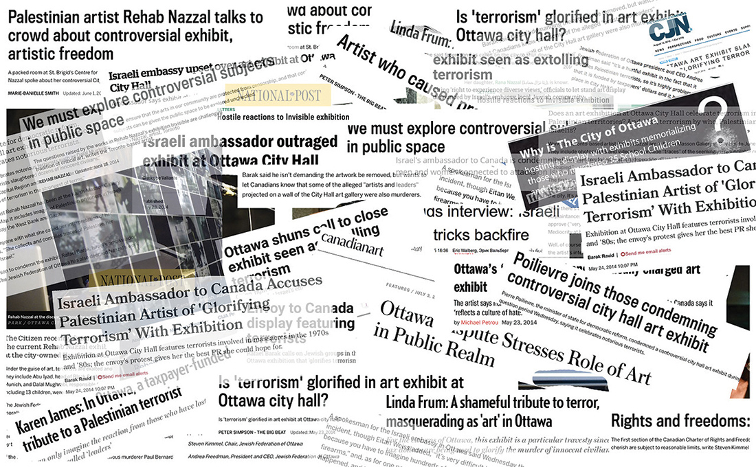 A composite of newspapers clips of articles that were published during the display of Invisible at Ottawa's Karsh-Masson Gallery, May-June 2014