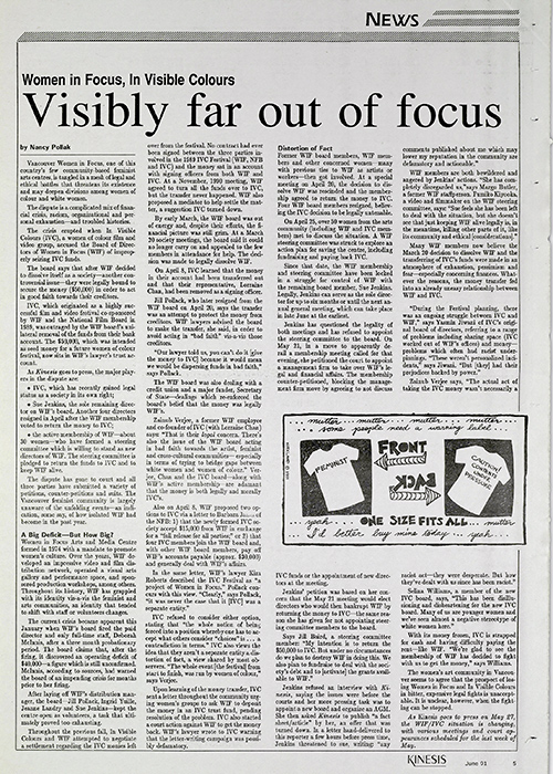 Image of Nancy Pollock reportage on the issue between Women In Focus and In Visible Colours in Kinesis, June 1991, p.5.