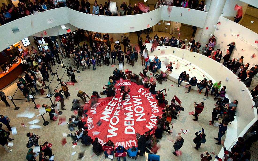 Global Ultra Luxury Faction (G.U.L.F), May Day 2015: Occupation of Guggenheim in New York, 2015.