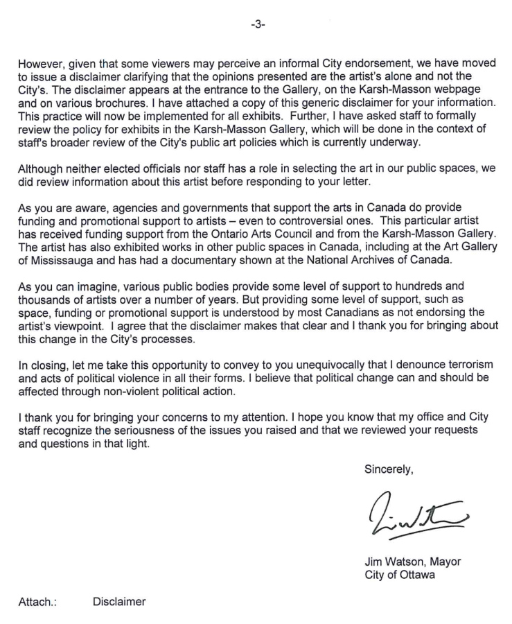 Scan of letter from Mayor of Ottawa to Andrea Freedman
